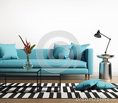 Modern binnenland met een blauwe turkooise bank in de woonkamer stock foto afbeelding 51827871 - Afbeelding eigentijdse woonkamer ...