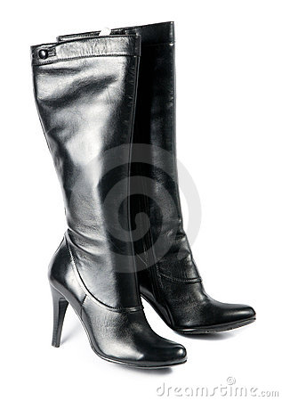 Free Modern Black Female Boots Royalty Free Stock Image - 12430016