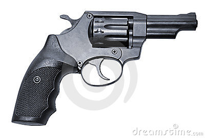 Modern black firearm revolver pistole