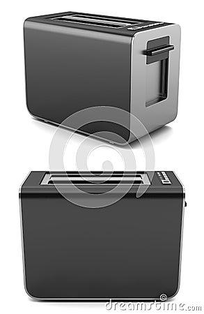 Modern black toaster isolated on white