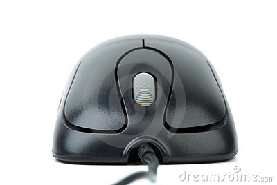Modern black wired optical mouse
