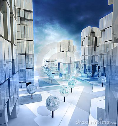 Free Modern Blue Alighted City Streets With Cloudy Sky Stock Images - 28448804