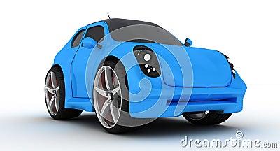 Modern blue cartoon car