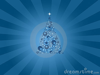 Modern blue christmas card with tree