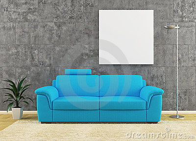 Modern blue sofa on dirty wall interior design