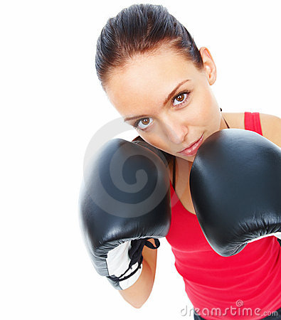 Modern boxing woman with attitude