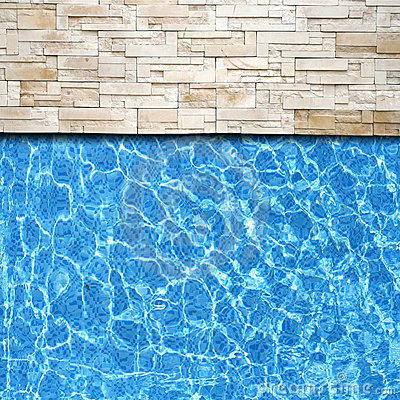 Modern brick pavement with pool edge