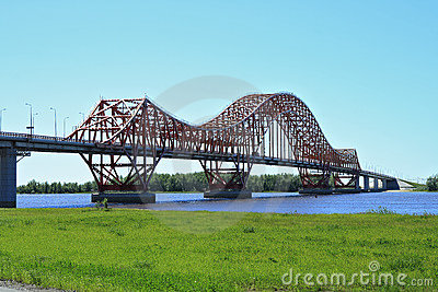 The modern bridge in Siberia
