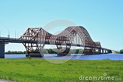 The modern bridge in Siberia