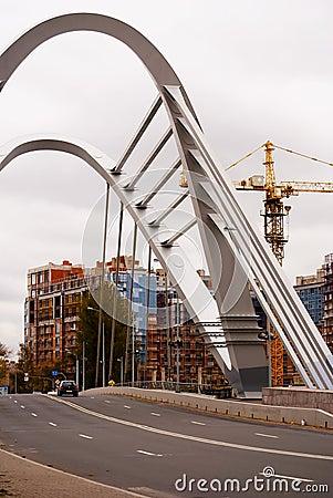 Modern bridge of St. Petersburg.