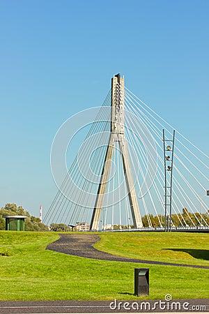 Modern bridge (Swietokrzyski) in Warsaw, Poland