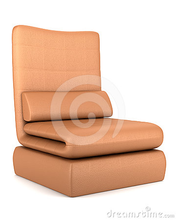 Free Modern Brown Leather Armchair Isolated On White Stock Photography - 24541932