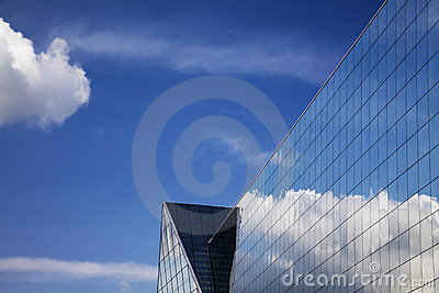 Modern building and blue sky reflection
