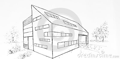 Modern Building Drawing Modern Building Drawing Made With Black Ink
