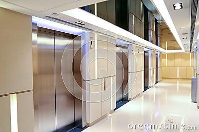 Modern building elevator lobby