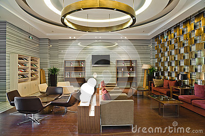 Modern building lobby lounge