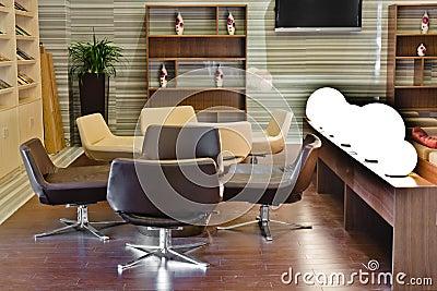 Modern building lobby lounge