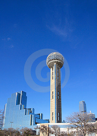 Modern building and Reunion Tower in Dallas