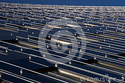 Modern building surface with solar panels
