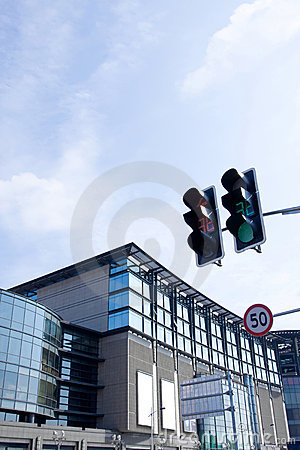 Modern building and Traffic signal