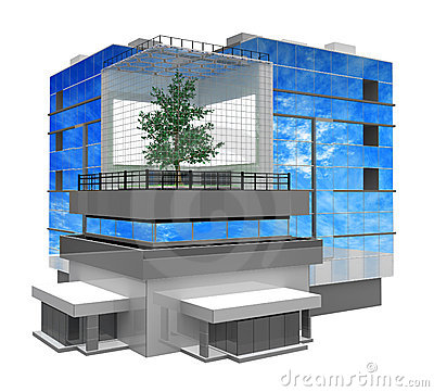Modern Building, Tree Inside