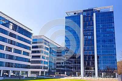 Modern buildings architecture of Olivia Business Centre Editorial Stock Image