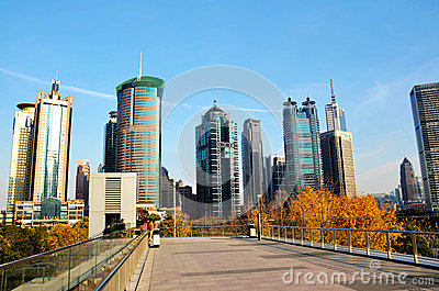 Modern buildings with blue sky background