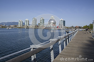 Modern buildings and boardwalk in Vancouver Editorial Stock Image