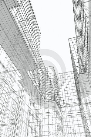 Modern Buildings Courtyard, Wireframe