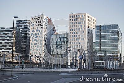 Modern buildings in downtown Oslo