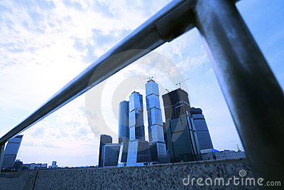 Modern buildings in evening Moscow