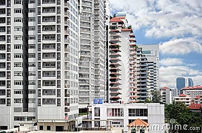 Modern buildings over blue sky background