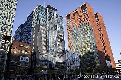 Modern buildings street gangnam seoul Editorial Image