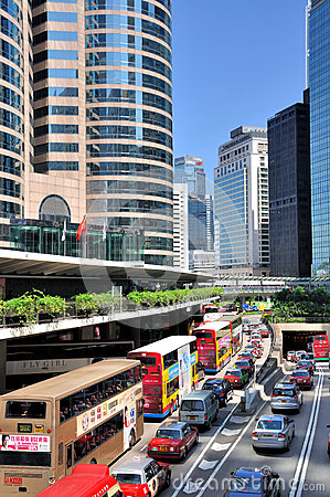 Modern buildings and traffic in Hongkong center Editorial Stock Photo