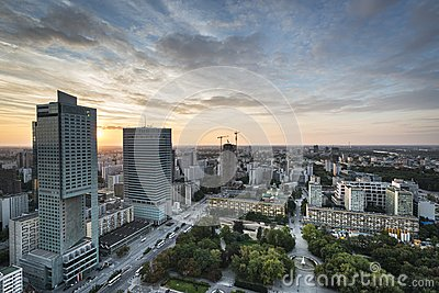 Modern buildings in Warsaw during sundown