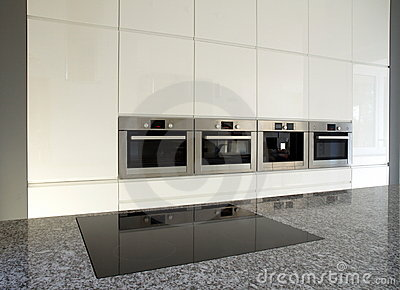 Modern built-in kitchen in white