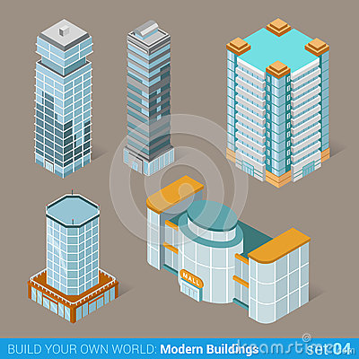 Free Modern Business Buildings Architecture Icon Set Stock Photos - 59041383