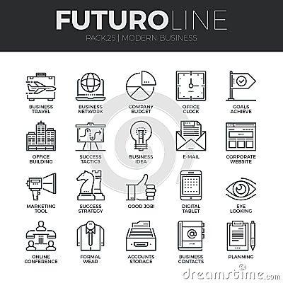 Free Modern Business Futuro Line Icons Set Royalty Free Stock Photos - 62806688