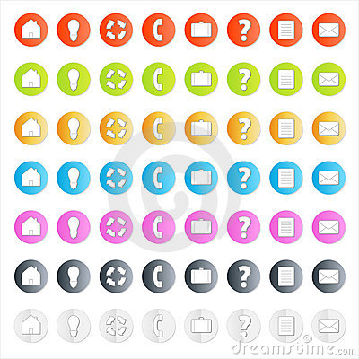 Modern business icon set with shadows