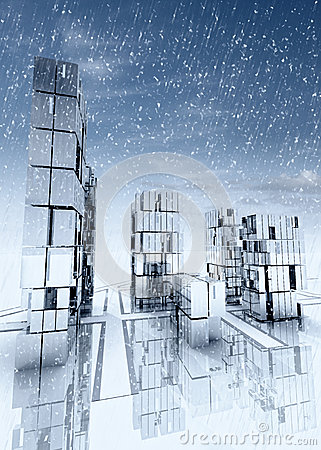 Modern business skyscraper city with snow falling