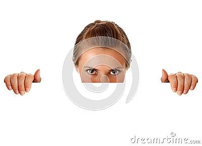 Modern business woman holding  blank billboard