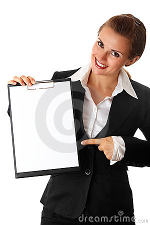 Modern business woman pointing on blank clipboard