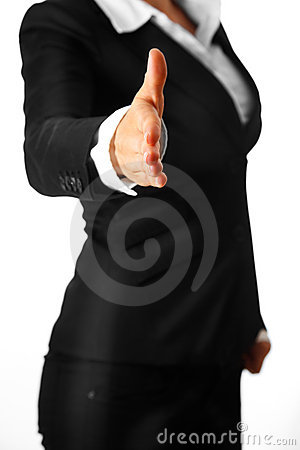 Modern business woman stretches out hand for hands