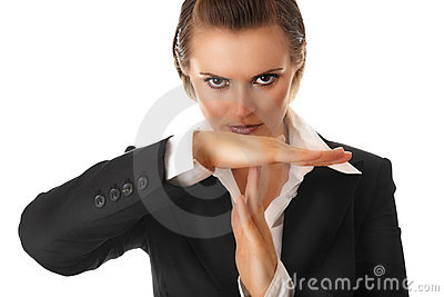 Modern business woman with time out crossed arms