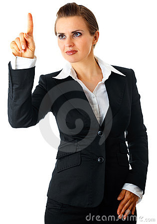 Modern business woman touching abstract screen