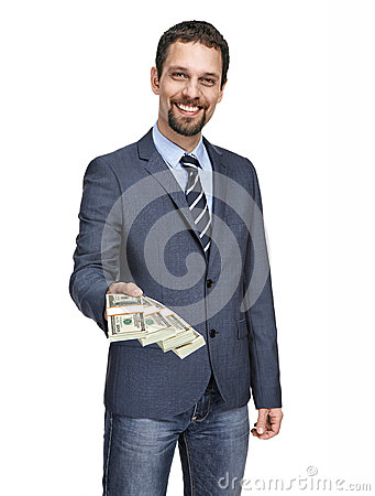 Modern businessman giving stack of dollars isolated on white