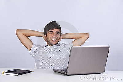 Modern businessman relaxing at his office