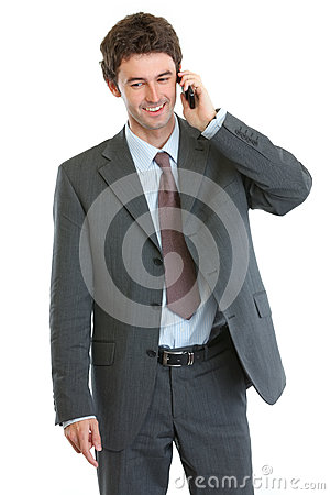 Modern businessman speaking cellular
