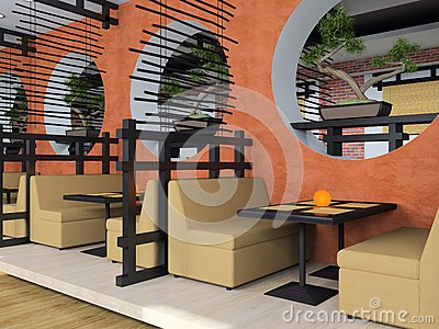 Modern cafe in Japanese style