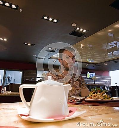 Modern cafe man